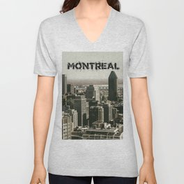 Montreal Canada Skyline with its Name Unisex V-Neck
