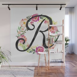 Floral R Monogram Wall Mural