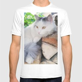 White Resting Cat on Firewood in the Yard T-shirt