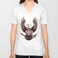 politics V-neck T-shirts featuring Politics of Blood by Gray Spear Society