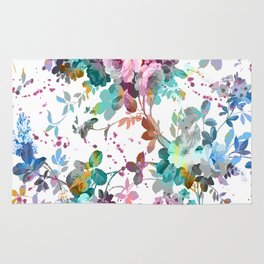 Abstract pink teal watercolor splatters floral pattern Rug