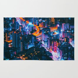 Cityscape Night View Rug