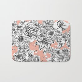 B&W Flowers Coral Bath Mat