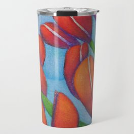 Botanical Painting with Reds and Blues Travel Mug