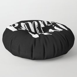 Bonne Nuit Bedroom Wall Art in Black and White Watercolor Floor Pillow
