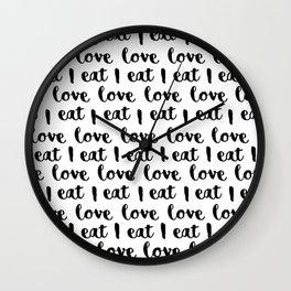 I love eat pattern Wall Clock