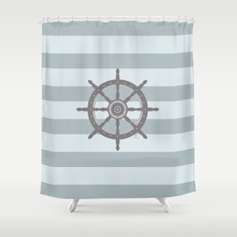 AFE Grey Nautical Wheel Shower Curtain