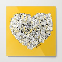 Camera Heart - on yellow Metal Print