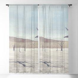 deadvlei desert trees acrfn Sheer Curtain