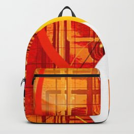 Yellow Black and Orange Sticker Abstract Backpack