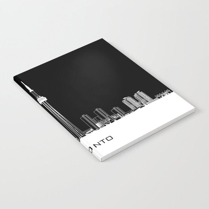Toronto Skyline - White ground / Black Background Notebook