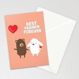 Cute cartoon bear and bunny rabbit holding hands Stationery Cards