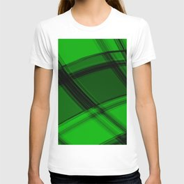 Charcoal salad curved strokes with crisp, chaotic meshes of intersecting Scottish stripes. T-shirt