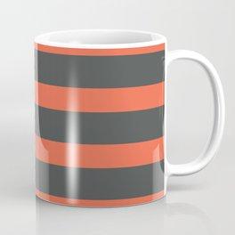 Orange Coral Stripes on Gray Background Coffee Mug