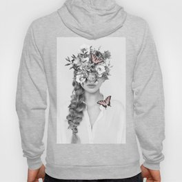 woman with flowers and butterflies 9a Hoody