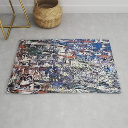 Inclement Weather (Gray and Blue Abstract Marks) Rug