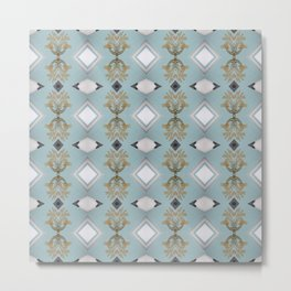 Soft Teal Blue & Gold No. 5 Metal Print