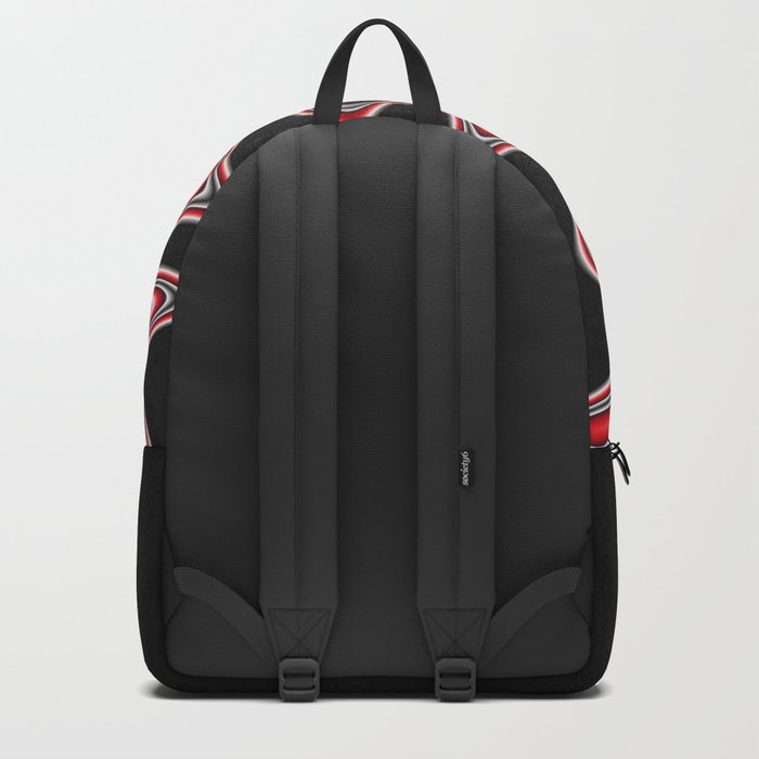 Fractal Line Art in Red, White and Black Backpack