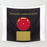 kubrick Wall Tapestries featuring No003 My 2001 A space odyssey 2000 minimal movie poster by Chungkong
