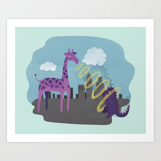 Giant Giraffe vs Godzilla Art Print