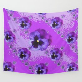 ABSTRACT ART PURPLE PANSY GARDEN  PATTERNS  FLORAL ART Wall Tapestry