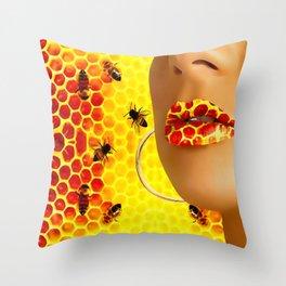 Lips in honey bee Throw Pillow