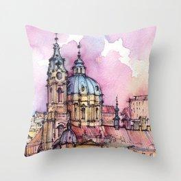 Prague ink & watercolor illustration Throw Pillow