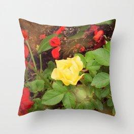 Yellow Rose With Red Geranium Throw Pillow