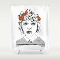 bug Shower Curtains featuring Lady Bug by Maria Suckert