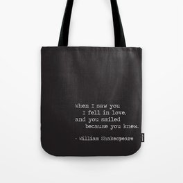 Shakespeare Quote: LOVE (white on black) Tote Bag