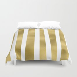 Gold unequal stripes on clear white - vertical pattern Duvet Cover