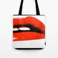 lip Tote Bags featuring sexy lip by Asano Kitamura