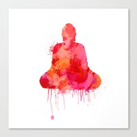 buddhism Canvas Prints featuring Red Buddha Watercolor art by Thubakabra