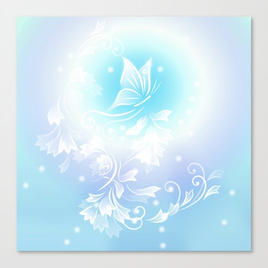 Floral Turquoise Butterfly Fantasy Canvas Print