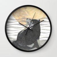 shiba inu Wall Clocks featuring SHIBA INU, MOON, DOG by Bless Hue