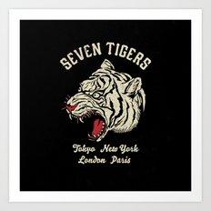 Seven Tigers Art Print