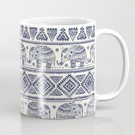 Vintage ethnic aztec with lovely elephants hand drawn illustration pattern Coffee Mug