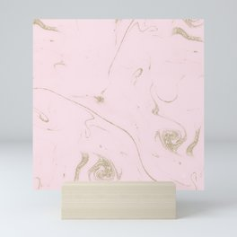 Luxe gold and blush marble image Mini Art Print