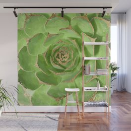 Cactus Green Succulent with Faux Gold Tips Wall Mural