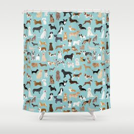 Dogs pattern print must have gifts for dog person mint dog breeds Shower Curtain