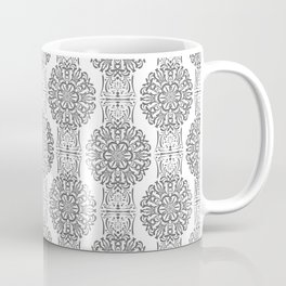 Gray white Damask ornament . Coffee Mug