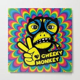 Hippie Trippy Cheeky Monkey Metal Print