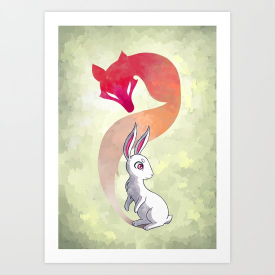 Rabbit and a Fox Art Print