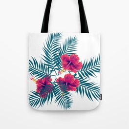 Palm Leaves and Hibiscus Flowers Tote Bag