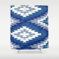 kilim Shower Curtains featuring Kilim Rug Blue by suzyoconnor