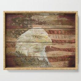 Rustic Bald Eagle Bird American Flag Patriotic Country Art A167 Serving Tray