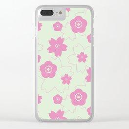 Sakura blossom - spring green Clear iPhone Case