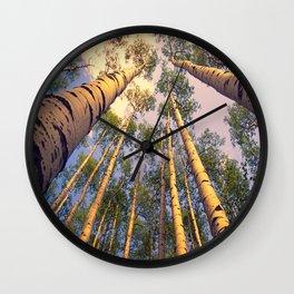 Aspen Trees Against Sky Wall Clock