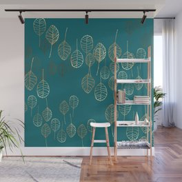 Golden Leaves - Teal Wall Mural