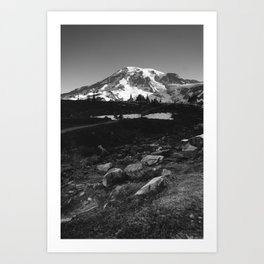 Mount Rainier in Black and White Art Print